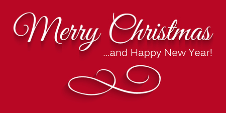 Simple Red Vector Christmas Card - Lettering: Merry Christmas and Happy New Year! With Shading and Elegant Curved Ornament as Symbol. Vector Greeting card Illustration for own Design or Head Banner. Иллюстрация