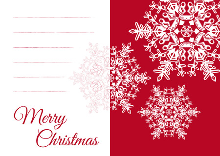 Christmas Vector Greeting Card Template with Blank Text Field and Beautiful Snowflake Decoration. Simple Seasonal Card in Flat Design and with Red Background. Free Space for Own Text and XMAS Wishes! Illustration