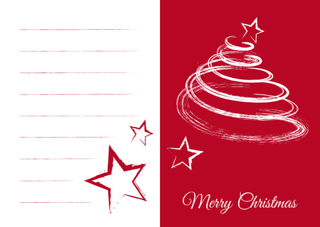 XMAS Vector Greeting Card with Blank Fields and Abstract Fir Tree and Stars. Text: Merry Christmas! Red XMAS Card with Free Space for Own Text or Seasonal Wishes. Simple and Beautiful Vector Graphic. Ilustração