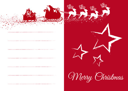 Red an White Vector Christmas Greeting Card, with Father Christmas and Jumping Reindeer Sleigh. Simple Seasonal Card with Blank Text Field for Own XMAS Wishes. Template with Text: Merry Christmas!  Ilustração