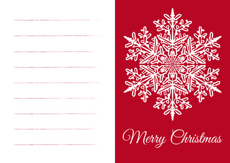Wintry White and Red Vector Christmas Card with Free Text Space for own Wishes. Template with Beautiful Abstract Snowflake Ornament and XMAS Greetings. Lettering in a Curved Font: Merry Christmas! Ilustração