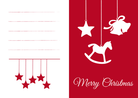 Red and White Vector XMAS Card, with Christmas Greeting! Beautiful Curved Lettering: Merry Christmas! With Seasonal White and Red Symbols: Stars, Rocker and Bell. Simple Vector Illustration Design.