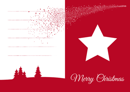 Simple but Beautiful Vector Christmas Greeting Card in Red and White Color with Falling Star and Blank Text Field for Own Christmas Wishes and Greetings. Simple Flat 2D Design for XMAS Season! Ilustração