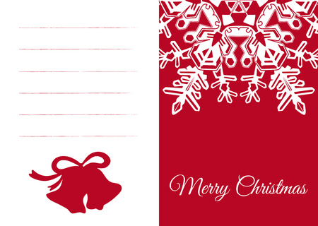 Seasonal Red and White Vector Christmas Card with Wintry Abstract Snowflake Ornament and Bell Symbol. Free Space for Own Text, Greetings or Wishes - XMAS Vector Illustration with Simple Design.