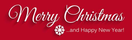Vettore rosso della cartolina d'auguri di Natale nel formato dell'insegna/di panorama. Lettering: Buon Natale e felice anno nuovo! Auguri di Natale per i tuoi amici o partner commerciali. illustrazione vettoriale! Vettoriali