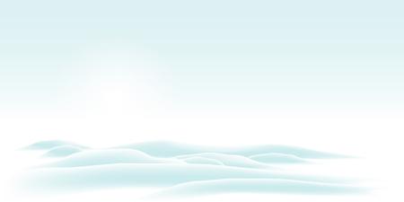 Wintry and Cold Vector Background with Hills and Nebulous Weather - Bright Skyline Scenery. Beautiful Winter Template for Your Seasonal Design or as Backdrop for North-Pole  South-Pole Illustrations. Ilustração