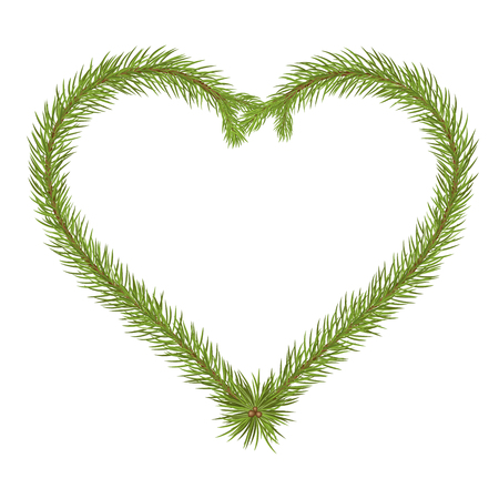 Love Message - Heart Shaped Vector Fir Branch Isolated on White Background. Seasonal Template With Free Space for Your Message or Own Desing Extras. Also Usefull as Christmas Greeting Card Backdrop!