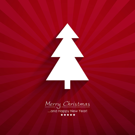 White Simple Vector Fir Tree Silhouette with Red Beam Background and XMAS Lettering: Merry Christmas and Happy New Year. Backdrop With Long Shadow and Depth Effect. Christmas Greeting Card Template!