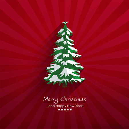 Beautiful Abstract Vector Fir Tree and Red Beam Background - Long Shadow and Depth Effect. For Christmas Season Greeting Cards or Decorativ Wintry Backdrop Design. Merry Christmas and Happy New Year! Ilustração