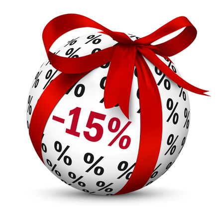 Discount -15% - 3D Sphere with Red Bow as Rebate Present. Spherical Business Symbol with Minus 15 (Fifteen) Percent Texture. Advertising for Online Shops and Websites - 3D Icon Illustration! 版權商用圖片