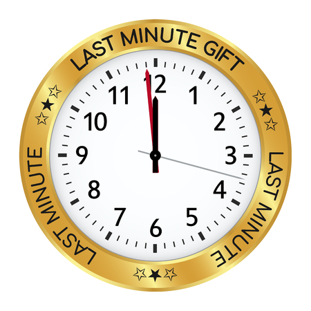 Golden Clock - Last Minute Gift Ideas! One Minute Before Twelve! Watch IconSymbol with Black Imprint and Number, Isolated on White Background. Pictogram for Promo or Gift Shops - Vector Illustration