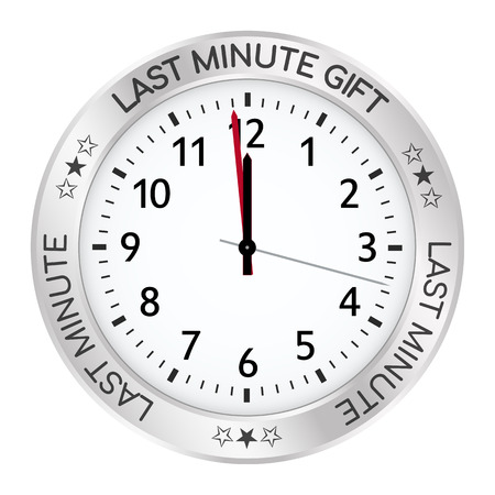 Silver Clock - Last Minute Gift Ideas! One Minute Befor Twelve! Useful as Promotion ButtonIcon for Websites or Online Gift Shops. Promo Watch with Black Number and Imprint - Vector Illustration Ilustração