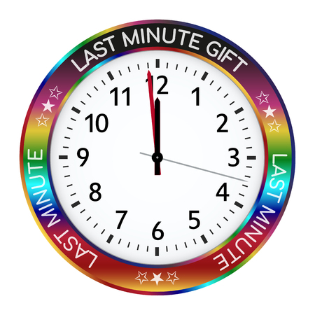 Colorful Clock - Last Minute Gift Ideas! One Minute Befor Twelve! Watch with Gradient Border Color and Black Number and Imprint. Promotion Icon for Online Shops or Websites - Vector Illustration Ilustração