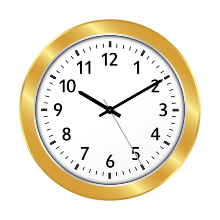 Clock Icon with Golden Border and Classical 10 Past 10 Adjustment and Black Clock Face - Beautiful Wall Clock Symbol for Jeweler Online Shops or Clockmaker  Watchmaker - Isolated Vector Illustration Ilustração