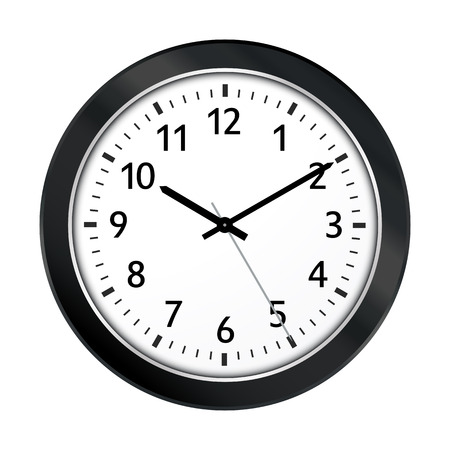 Clock Symbol with Black Border and Classical 10 Past 10 Adjustment. Vector Wall Clock Icon with Black Clock Face Isolated on White Background. Useful as Eyechatcher for Websites - Vector Illustration