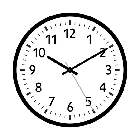 Simple 2D Vector Retro Clock Icon with Classical 10 Past 10 Adjustment. With Black Clock Face and Black Border. License it As Vector and You Can Adjust The Clock Yourself - Vector Illustration Ilustração
