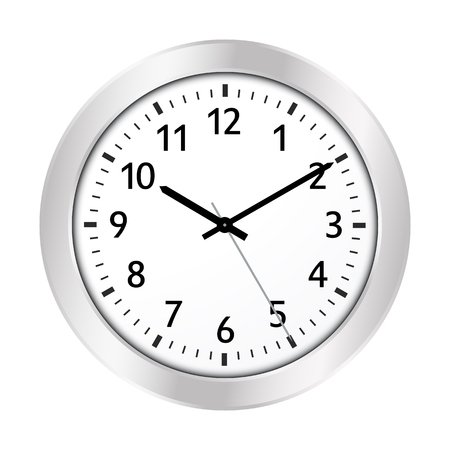 Clock Icon with Silver Border and Classical 10 Past 10 Adjustment and Black Clock Face - License it As Vector -> Adjust The Clock Yourself. Useful For Jeweler Shops or Clockmaker - Vector Illustration Ilustração