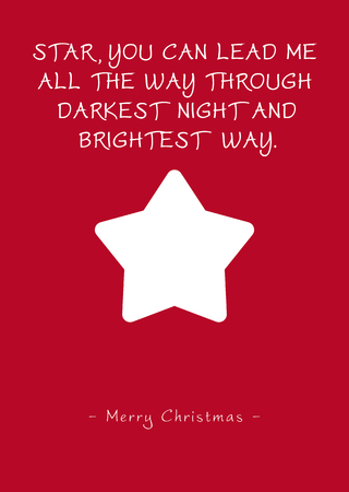 Simple Red Vector Christmas Greeting Card with Single Starlet and Poem (Rhyme). Star, You Can Lead Me All The Way Through Darkest Night and Brightest Way - Merry Christmas. Scarlet Background Color!