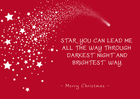 Simple Red Vector Christmas Greeting Card with Shooting Star and Poem (Rhyme). Star, You Can Lead Me All The Way Through Darkest Night and Brightest Way - Merry Christmas. Falling Star Silhouette! Illustration