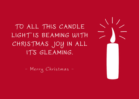 Simple Red Vector Christmas Greeting Card with Single Candle and Poem (Rhyme). To All This Candle Light Is Beaming with Christmas Joy in all its Gleaming - Merry Christmas. Basic Silhouette  Shape