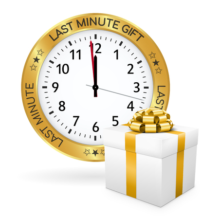 Last Minute Gift Clock with Golden Border and White Present in Front of it. Shiny Gold Metallic IconSymbol with Imprint. Advertising for Online Gift Shops or Websites with Giftware. 3D Illustration