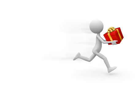 3D Deliveryman Hurries to Deliver a Red Colored Gift Box with Golden Ribbon and Bow - Running Man with Present in His Hand. Free Space For Your Promotion, Advertising or Own Ideas - 3D Illustration