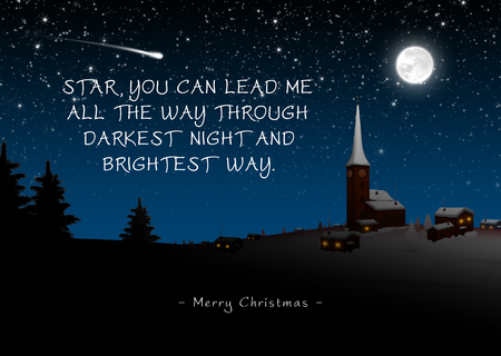 Snowy Quaint Mountain Village on Christmas Eve with Poem (Rhyme). Star, You Can Lead Me All The Way Through Darkest Night and Brightest Way - Merry Christmas. Starry Night With Moonlight - Wintertime Imagens - 112881061