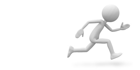 Speed Running 3D Cartoon Character with White Background and Smooth Shadow on Ground. Usefull Rendering for Presentation of Speed, Sporting Activities, Health and Fitness - 3D Graphic Illustration