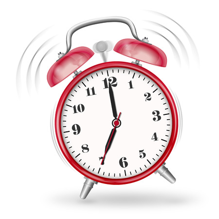 Classic Ringing Alarm Clock Icon  Symbol with Red Surface and Smooth Shadow. Useful Graphic Illustration for Visualization of Appointments, Deadlines, Time Pressure or Dates - Time Related Graphic! Banco de Imagens