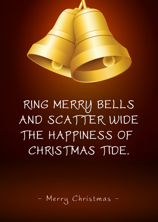 Christmas Greeting Card with Golden Bells and Poem  Rhyme. Ring Merry Bells and Scatter Wide the Happiness of Christmas Tide - Merry Christmas. Graphic Illustration With Warm Coffee Brown Background! Stock Photo