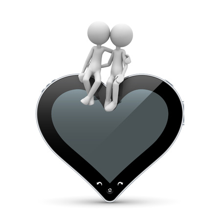 Two 3D Cartoon Character in Love sitting on a Heart Shaped Abstract Tablet PC. With Free Space for Your Text or Own Ideas. Useful for Valentines Day Greeting Cards or Love Messages - 3D Illustration