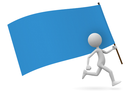 Running Cute 3D Cartoon Character as Standard Bearer with Blue Flag. With Free Space for your Own Text or Graphic Ideas. Useful for Flyer, Poster, Placards or Dates for Demonstrations or Parties.