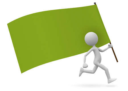Running Cute 3D Cartoon Character as Standard Bearer with Green Flag. With Free Space for your Own Text or Graphic Ideas. Useful for Flyer, Poster, Placards or Dates for Demonstrations or Parties. Banco de Imagens