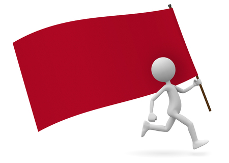 Running Cute 3D Cartoon Character as Standard Bearer with Red Flag. With Free Space for your Own Text or Graphic Ideas. Useful for Flyer, Poster, Placards or Dates for Demonstrations or Parties.