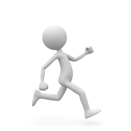 Running 3D Cartoon Character with White Background and Smooth Shadow on Ground. Usefull Rendering for Presentation of Speed, Sporting Activities, Health and Fitness - 3D Graphic Illustration