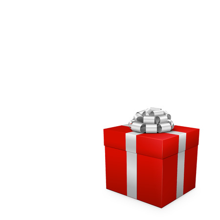 Red Gift Box with Silver Ribbon and Bow in Same Color - Square Format. Greeting Card Template for Festivity like Christmas, Birthday Parties or other Events. With White Space for Your Design Elements.