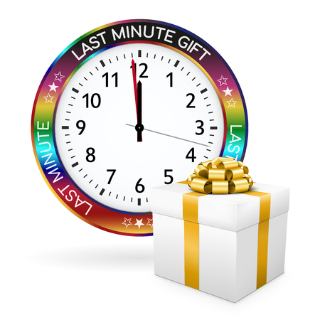 Colorful Clock and White Gift Box with Golden Bow and Ribbon in Front of it. Last Minute Gift Watch Button with Imprint. Advertising or Promotion for Online Shops or Websites. 3D Illustration Banco de Imagens
