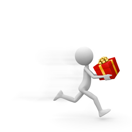 Fast Running Abstract Deliveryman with Red Gift Box in his Hand - Cute little 3D Guy Hurries to Deliver a Present. Template with Free Space for Advertising, Promo, Text or Own Ideas - 3D Illustration Banco de Imagens