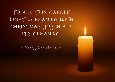 Christmas Greeting Card with Single Candle and Poem (Rhyme). To All This Candle Light is Beaming with Christmas Joy in All Its Gleaming - Merry Christmas. XMAS Greetings with Beautiful Candlelight.