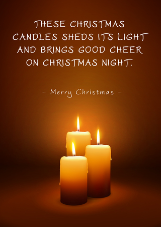 Christmas Greeting Card with Three Candles and Poem (Rhyme). These Christmas Candles Sheds Its Light And Brings Good Cheer On Christmas Night - Merry Christmas. 3D Illustration with XMAS Candlelights