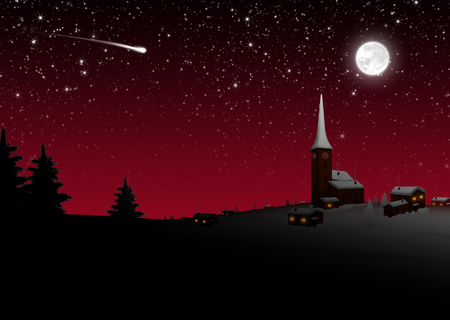 Snowy Quaint Mountain Village on Christmas Eve. Starry Night With Moonlight, Shooting Star and Beautiful Shining Stars. Wintry Scenario Illustration for Greeting Cards with Dark Red Background!