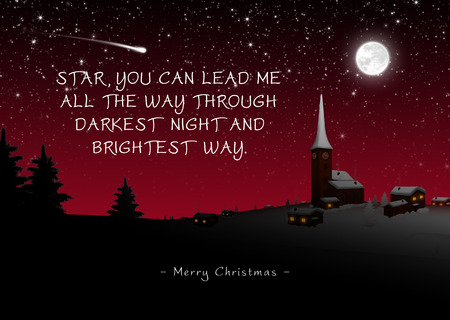 Snowy Quaint Mountain Village on Christmas Eve with Poem (Rhyme). Star, You Can Lead Me All The Way Through Darkest Night and Brightest Way - Merry Christmas. Starry Night With Moonlight - Wintertime Banco de Imagens