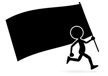 Running Vector Cartoon Standard Bearer - Silhouette with Flag Isolated on White Background. Black Simple Illustration Template for Domonstration Flyer or other Activities and Graphic Ideas.