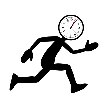 """Silueta negra (forma) del personaje de dibujos animados corriente con una """"cabeza de reloj"""" abstracta redonda. Ilustración vectorial útil para la presentación de ofertas de último minuto u otros temas con presión de tiempo."""