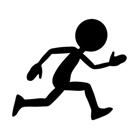 Siluetta nera (forma) dal personaggio dei cartoni animati in esecuzione con una testa rotonda. Illustrazione vettoriale utile per la presentazione di velocità, attività sportive, salute e fitness - Design grafico semplice e piatto!