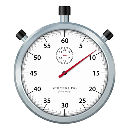 Classic Stopwatch Icon  Symbol with Chrome Surface and Without Shadow. Useful Vector Illustration for Visualization of Time Pressure, Deadlines or Other Time Related Graphic Presentations.