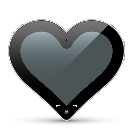 Unique Abstract Heart Shaped Tablet Pc. Useful Vector Illustration for Valentines Day Greeting Cards, Love Messages or Online Dating Communities that Need Special Eyecatcher for Websites or Internet! Ilustração