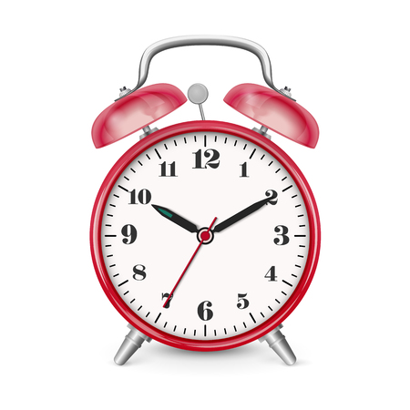 Classic Alarm Clock Vector Icon  Symbol with Red Surface and Smooth Shadow. Traditional Clock Setting: 10 Minutes Past Ten. Useful Illustration for Visualization of Appointments or Time Related Topic Ilustração