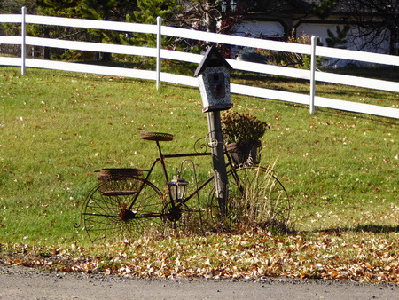 canada agriculture: an old bicycle used to decorate a mail box outside a farm in Alberta