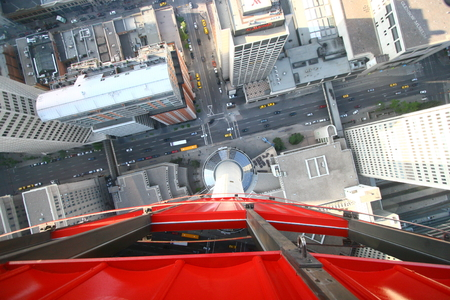 A view of the streets below Calgary Tower from the glass bottom